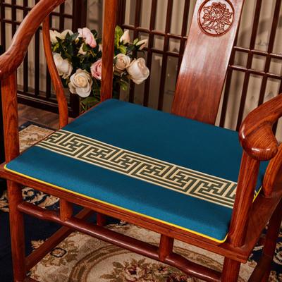 2020新款 麻布印花坐垫系列 太师椅垫 回纹花 45x40x3cm 回纹花-兰色
