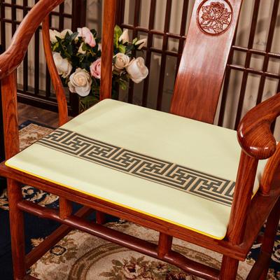 2020新款 麻布印花坐垫系列 太师椅垫 回纹花 40x40x2cm 回纹花-米色
