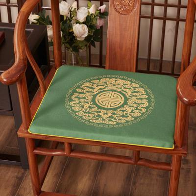 2020新款麻布印花坐垫系列 太师椅垫 吉祥如意 45x40x3cm 如意-墨绿