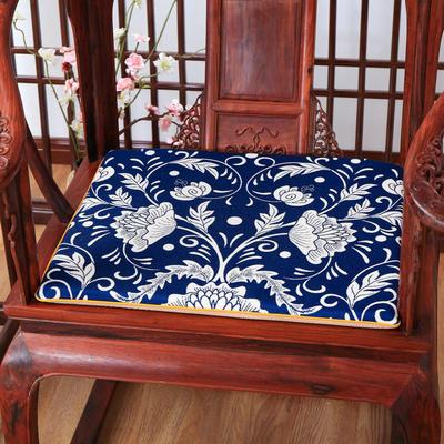 2020新款麻布印花坐垫系列 太师椅垫 青花芙蓉 45x40x3cm 新中式-团花