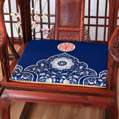 2020新款麻布印花坐垫系列 太师椅垫 青花芙蓉 45x40x3cm 新中式-韵