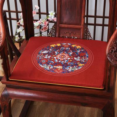 麻布印花坐垫系列 中式太师椅垫 双鱼团花 40x40x2cm 双鱼团花-红