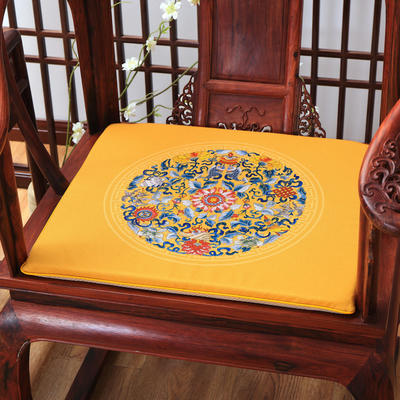 麻布印花坐垫系列 中式太师椅垫 双鱼团花 40x40x2cm 双鱼团花-金