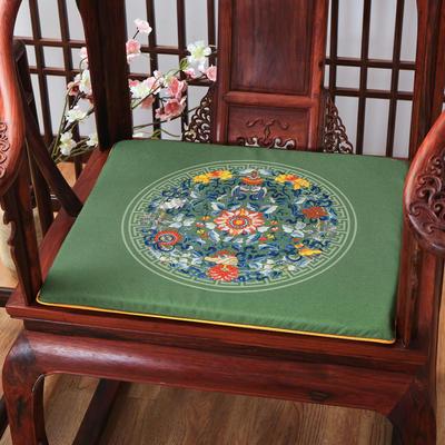 麻布印花坐垫系列 中式太师椅垫 双鱼团花 40x40x2cm 双鱼团花-墨绿