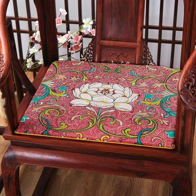 麻布印花坐垫系列 中式太师椅垫 双鱼团花 40x40x2cm 中式-荷花