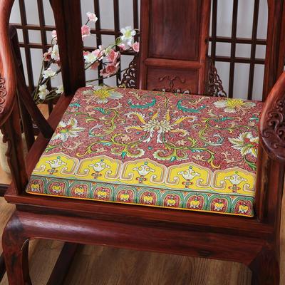 麻布印花坐垫系列 中式太师椅垫 双鱼团花 40x40x2cm 中式-荷韵