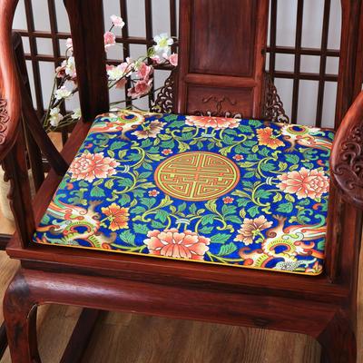 麻布印花坐垫系列 中式太师椅垫 双鱼团花 40x40x2cm 中式-洪福