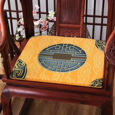 麻布印花坐垫系列 中式太师椅垫 双鱼团花 40x40x2cm 中式-金福