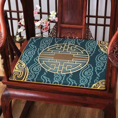 麻布印花坐垫系列 中式太师椅垫 双鱼团花 40x40x2cm 中式-兰福