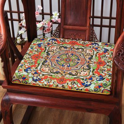 麻布印花坐垫系列 中式太师椅垫 双鱼团花 40x40x2cm 中式-齐天