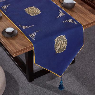 2020新款麻布印花桌旗 180x33cm 福禄-藏蓝