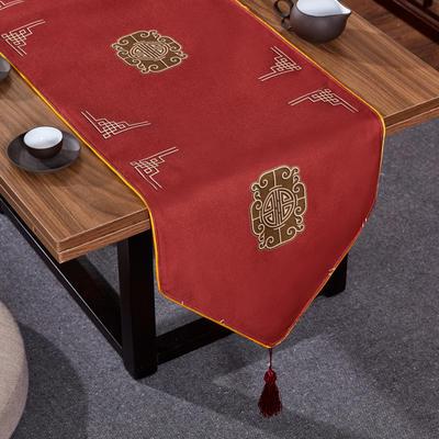 2020新款麻布印花桌旗 180x33cm 福禄-红