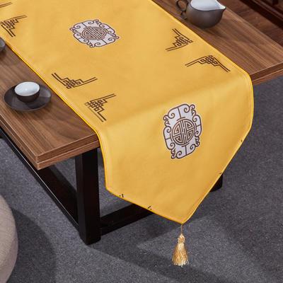 2020新款麻布印花桌旗 180x33cm 福禄-黄