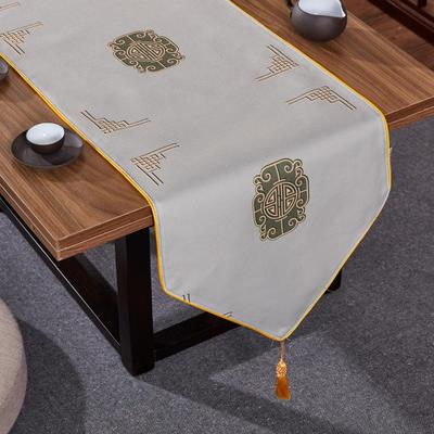 2020新款麻布印花桌旗 180x33cm 福禄-灰
