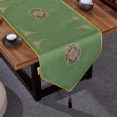 2020新款麻布印花桌旗 180x33cm 福禄-墨绿