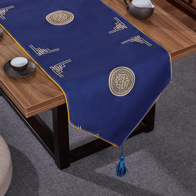 2020新款麻布印花桌旗 180x33cm 富贵-藏蓝