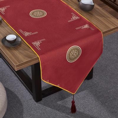 2020新款麻布印花桌旗 180x33cm 富贵-红