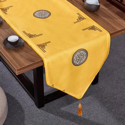 2020新款麻布印花桌旗 180x33cm 富贵-黄