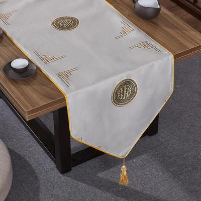 2020新款麻布印花桌旗 180x33cm 富贵-灰