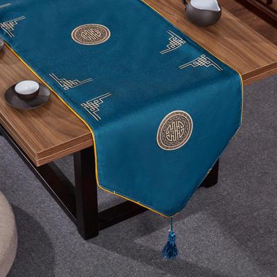2020新款麻布印花桌旗 180x33cm 富贵-兰