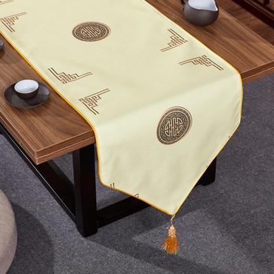 2020新款麻布印花桌旗 180x33cm 富贵-米