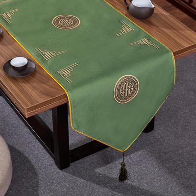 2020新款麻布印花桌旗 180x33cm 富贵-墨绿