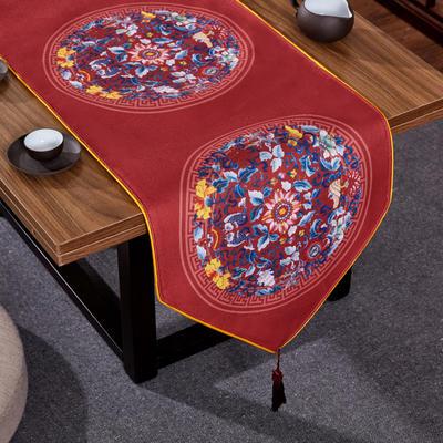 2020新款麻布印花桌旗 180x33cm 双鱼团花-红