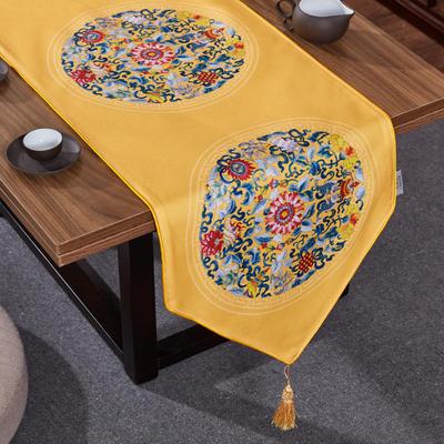 2020新款麻布印花桌旗 180x33cm 双鱼团花-黄