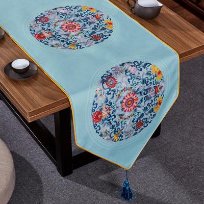 2020新款麻布印花桌旗 180x33cm 双鱼团花-蓝