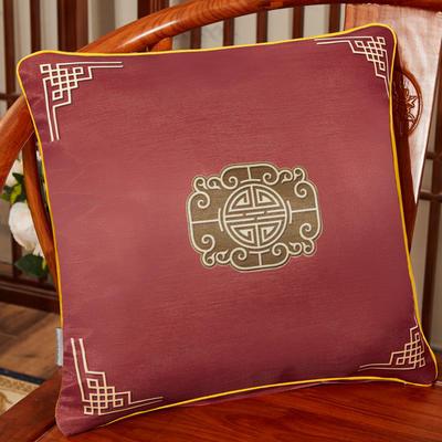 2020新款冰丝双面印花抱枕系列 45x45cm(含芯) 双面冰丝款-福禄红