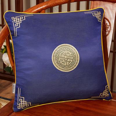2020新款冰丝双面印花抱枕系列 45x45cm(含芯) 双面冰丝款-富贵藏蓝