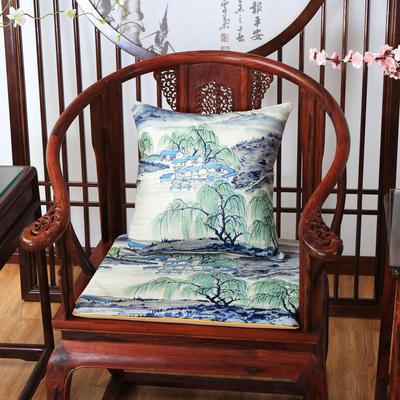 2020新款麻布印花抱枕系列 水墨山水 45x45cm(不含芯) 春风垂柳