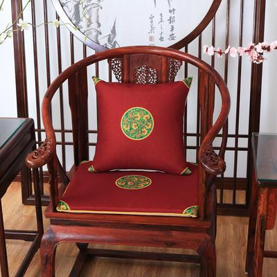 2020新款麻布印花抱枕系列 中式小花 45x45cm(不含芯) 中式-红