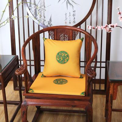 2020新款麻布印花抱枕系列 中式小花 45x45cm(不含芯) 中式-亮黄