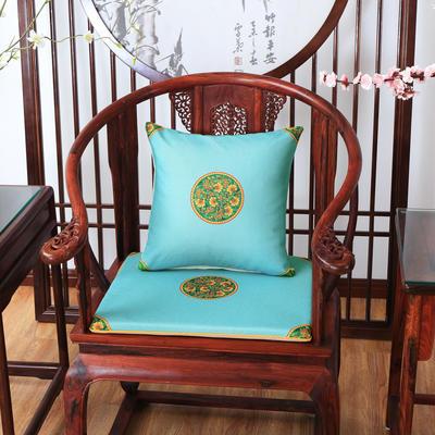 2020新款麻布印花抱枕系列 中式小花 45x45cm(不含芯) 中式-亮蓝