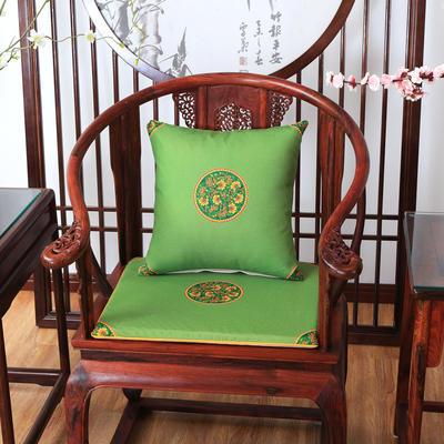 2020新款麻布印花抱枕系列 中式小花 45x45cm(不含芯) 中式-亮绿