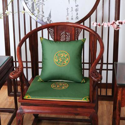 2020新款麻布印花抱枕系列 中式小花 45x45cm(不含芯) 中式-墨绿