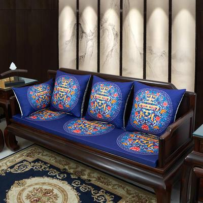 2020新款麻布印花沙发垫 花团锦簇 每平方(单套子,不含海绵) 福寿-藏蓝