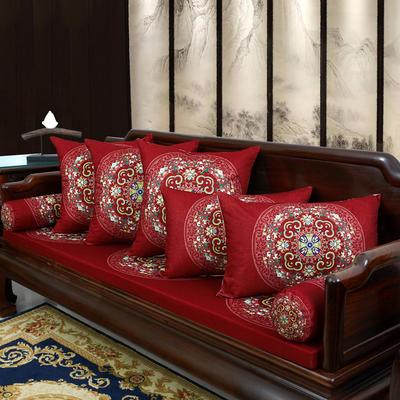 2020新款麻布印花沙发垫 花团锦簇 每平方(单套子,不含海绵) 花团锦簇-红