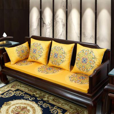 2020新款麻布印花沙发垫 花团锦簇 每平方(单套子,不含海绵) 花团锦簇-黄