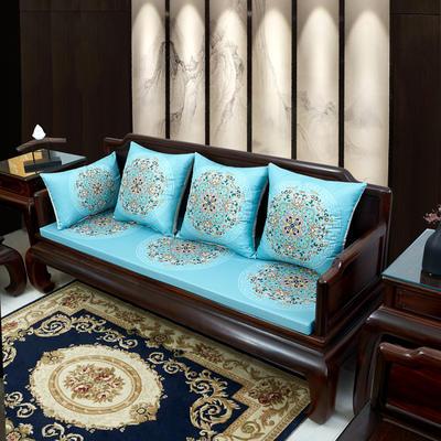 2020新款麻布印花沙发垫 花团锦簇 每平方(单套子,不含海绵) 花团锦簇-亮蓝