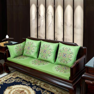 2020新款麻布印花沙发垫 花团锦簇 每平方(单套子,不含海绵) 花团锦簇-亮绿