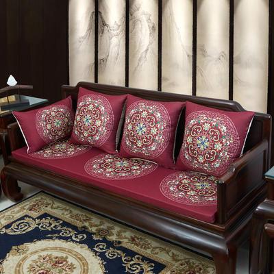 2020新款麻布印花沙发垫 花团锦簇 每平方(单套子,不含海绵) 花团锦簇-玫红