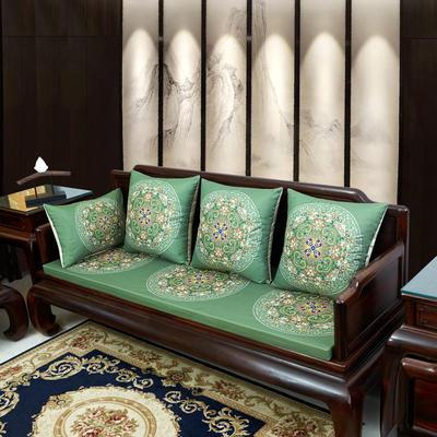 2020新款麻布印花沙发垫 花团锦簇 每平方(单套子,不含海绵) 花团锦簇-墨绿