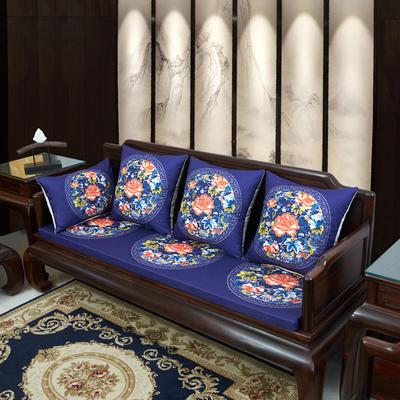 2020新款麻布印花沙发垫 花团锦簇 每平方(单套子,不含海绵) 秋香-藏蓝