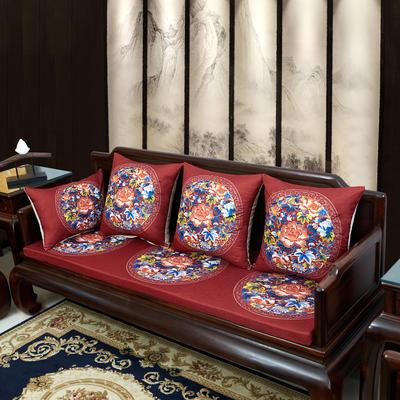 2020新款麻布印花沙发垫 花团锦簇 每平方(单套子,不含海绵) 秋香-红