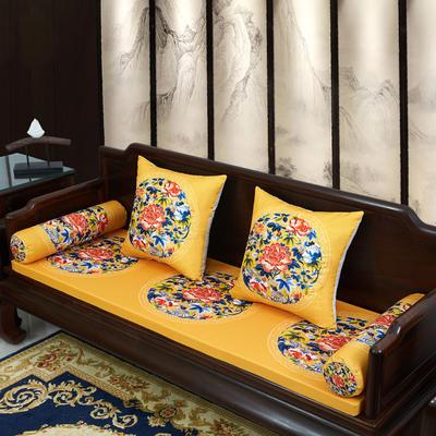 2020新款麻布印花沙发垫 花团锦簇 每平方(单套子,不含海绵) 秋香-黄