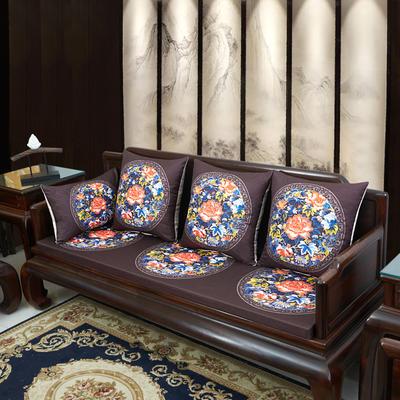 2020新款麻布印花沙发垫 花团锦簇 每平方(单套子,不含海绵) 秋香-咖