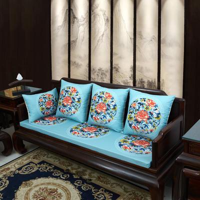 2020新款麻布印花沙发垫 花团锦簇 每平方(单套子,不含海绵) 秋香-亮蓝