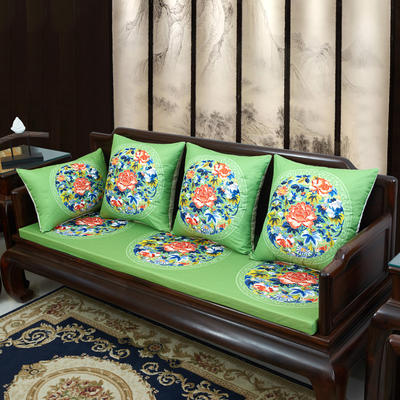2020新款麻布印花沙发垫 花团锦簇 每平方(单套子,不含海绵) 秋香-亮绿